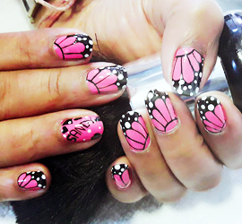KALAKRITI NAIL ART PINK AND BLACK